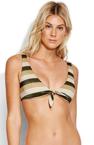 Seafolly Sunset Stripe Tie Front Crop Top