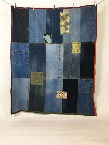 Upcycled Blankets - Denim Picnic Blanket # 10
