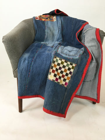 Upcycled Blankets - Denim Picnic Blanket # 11