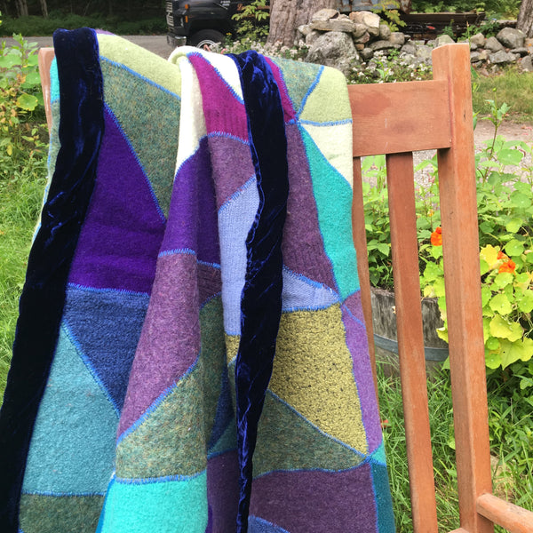 "Recycled Sweater Blanket - Purps & Turqs Geo Design - 58"" x 58"""