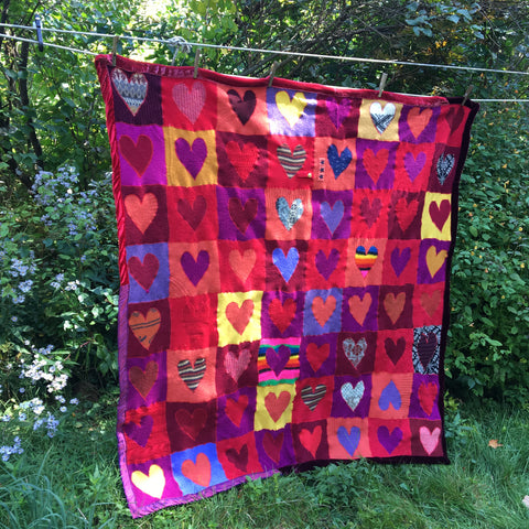 "Recycled Sweater Blanket - Heart Inlays 58"" x 58"""