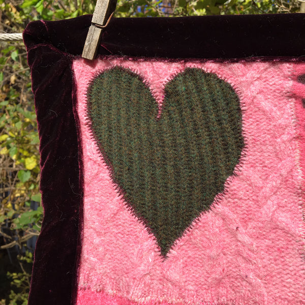Recycled Sweater Blanket - Sweet Hearts in Pink Small