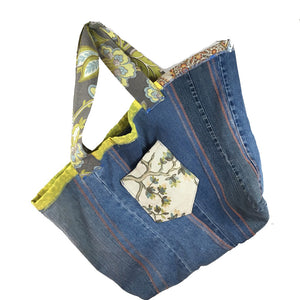 Denim Beach Bag - with White and Green Pocket
