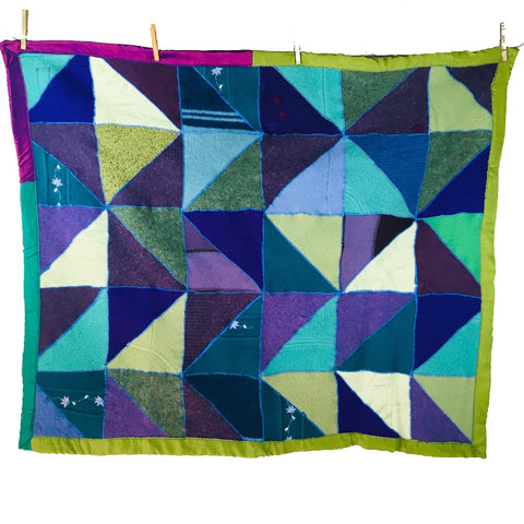 "Recycled Sweater Blanket - Purps & Turqs Geo Design w/ Silk Trim - 36"" x 48"""