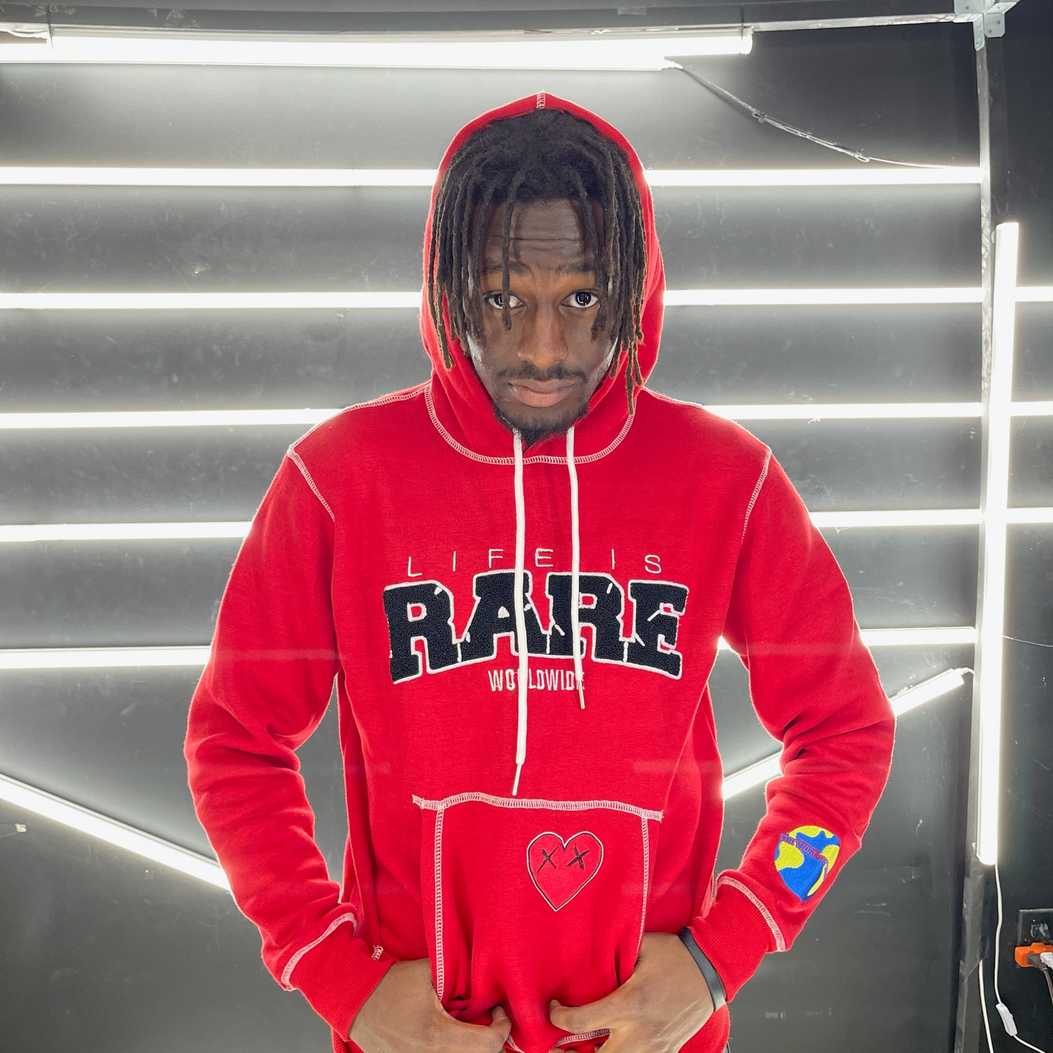"""Fire Red"" Life is Rare Worldwide Hoodie"