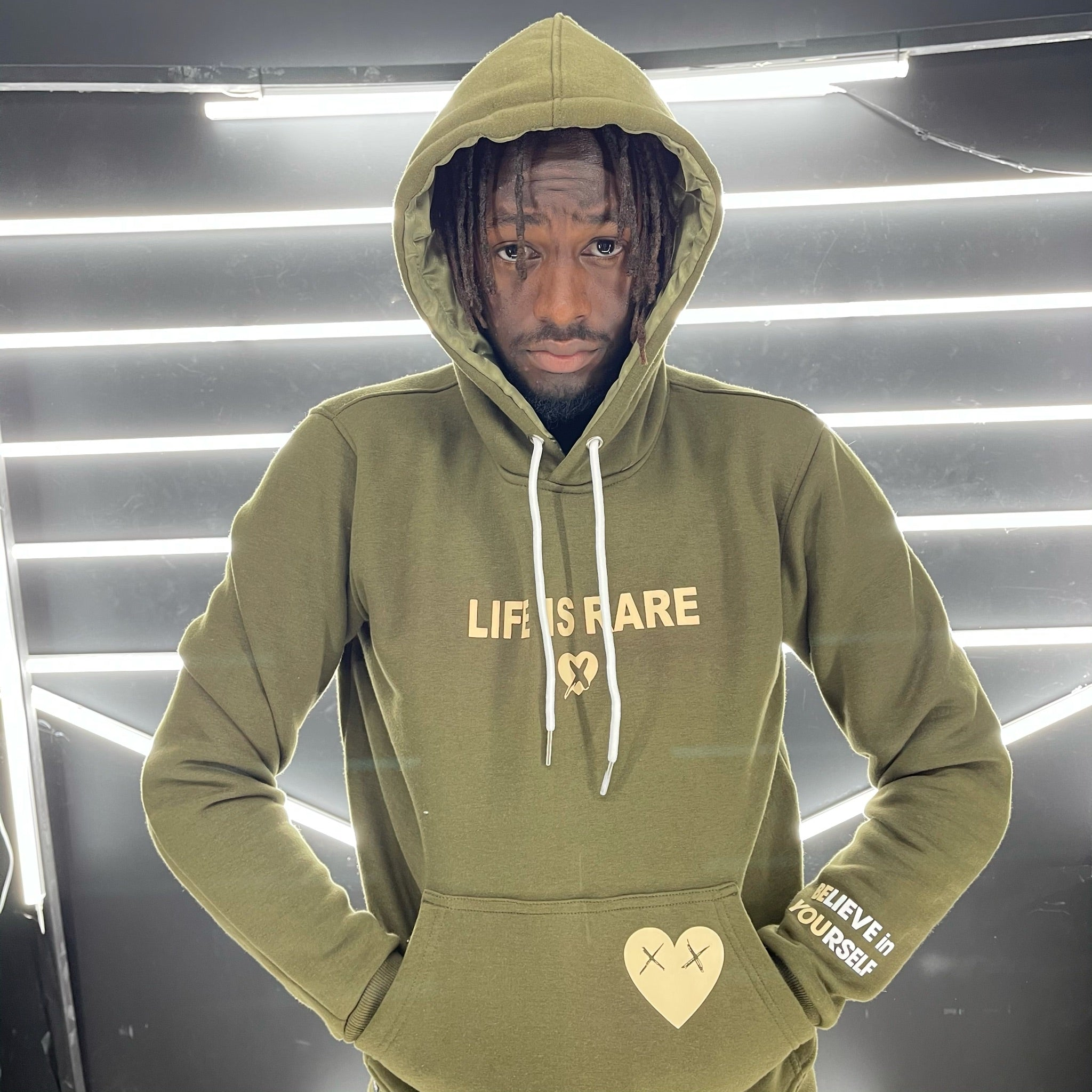 """Utility Green"" Life is Rare Statement Hoodie"