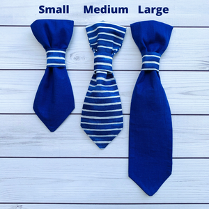 Medium Pet Tie - Blue Stripes