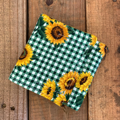 Universal Drink COW - Green Gingham Sunflowers