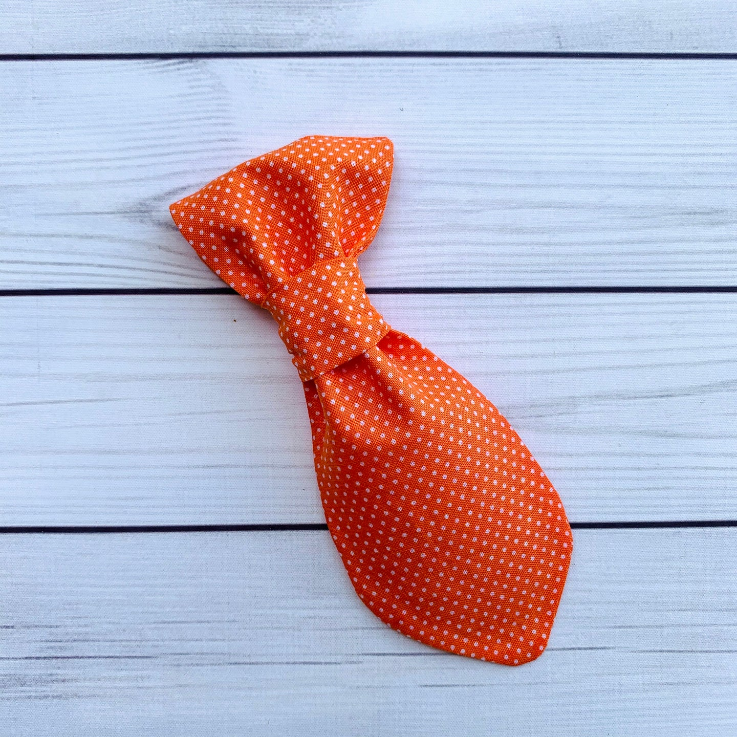 Small Pet Tie - Orange Swiss Dots