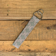 Load image into Gallery viewer, Handmade Wristlet Keychain - Grey/Light Pink Genie