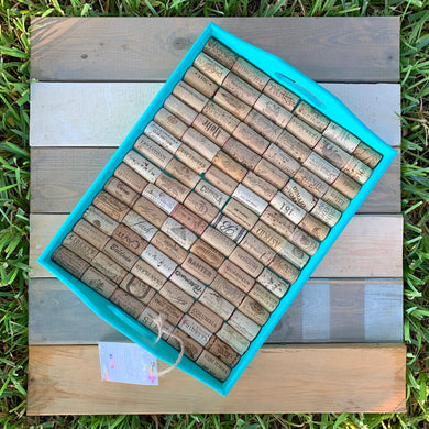 Teal Wine Cork Tray - Large Rectangle