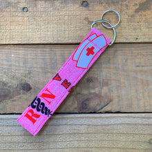 Load image into Gallery viewer, Handmade Wristlet Keychain - RN Pink