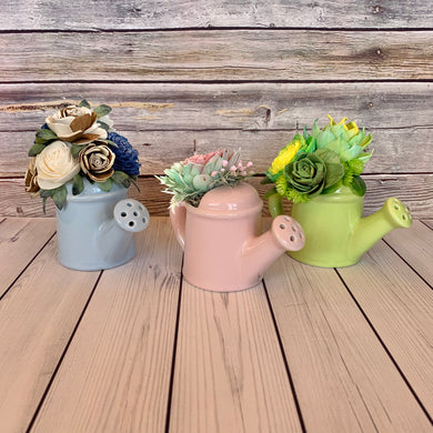 Small Ceramic Watering Pail Arrangments