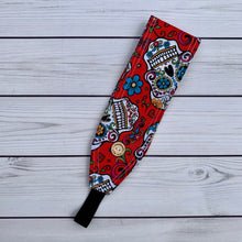 Load image into Gallery viewer, Handmade Buttoned Headbands - Sugar Skull Red