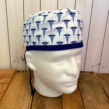 Load image into Gallery viewer, Handmade Buttoned Scrub Caps - RN Blue