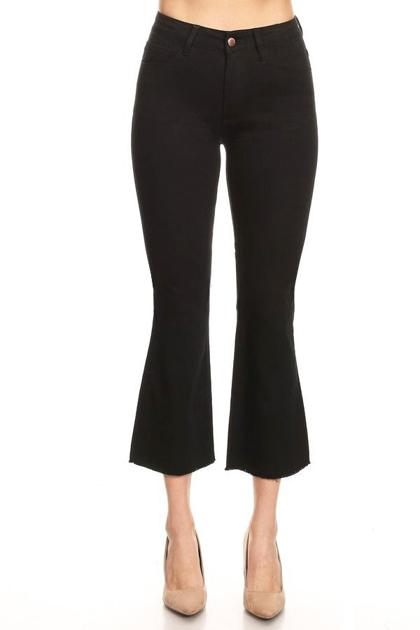 High Waisted Capris Flare in Black