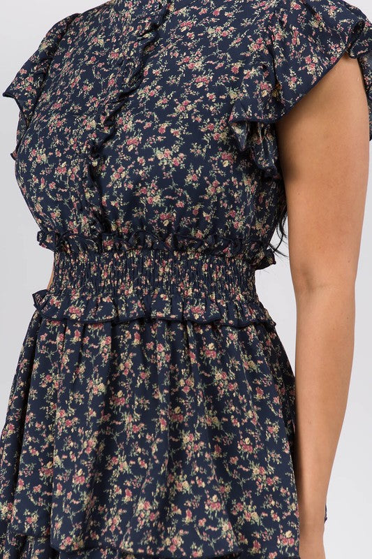 Mock Neck Ruffle Mini Dress With Floral Print