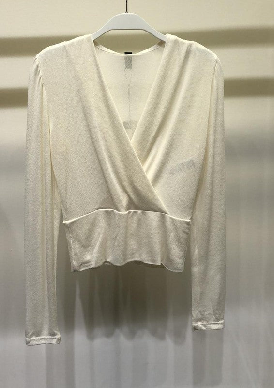 Lightweight  Crossover Long Sleeve V Neck Top