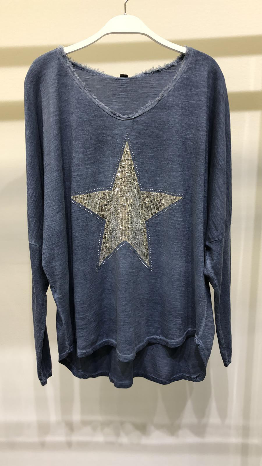 Sequin. Star Fringe V Neck Long Sleeve Top