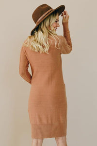 High Neck Textured Bodycon Sweater Dress