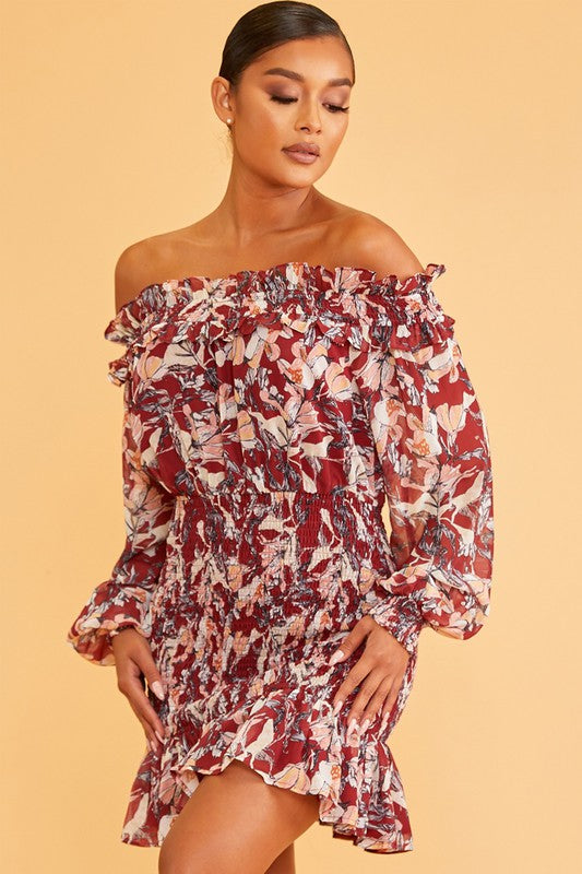 Fall Floral Scrunch Off/S Dress