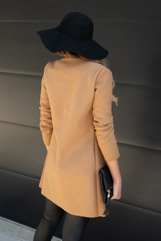 Zipper Detailed Felt Wool Trench Coat
