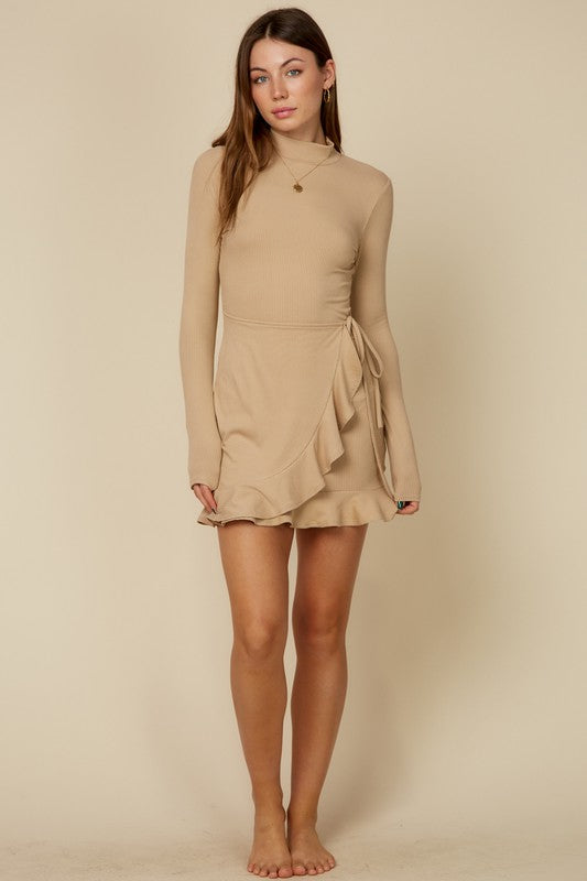 Long Sleeved Ruffled Wrap Dress