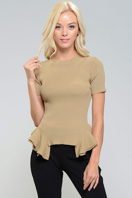 Pamelyn Ribbed Peplum Sweater Top