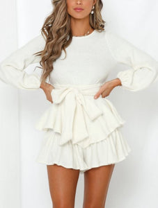 Sweater Dress With Puff Sleeves Tiered Skirt