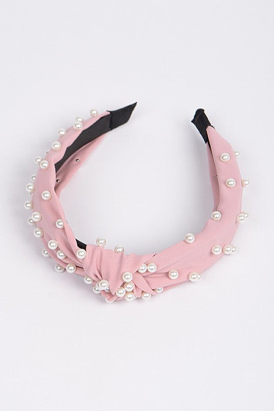 Monotone Knotted Head Band With Pearls