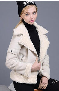 Womens Suede Leather Faux Sheepskin Coat