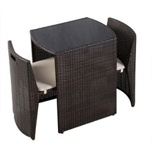 Load image into Gallery viewer, 3 pcs Wicker Patio Cushioned Outdoor Chair and Table Set Strong Steel Frame with Removable Sponge Cushions Assembly HW49296