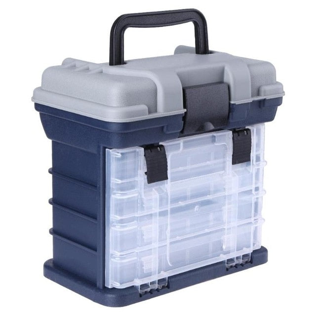 4 Layer Portable Carp Fishing Tackle Boxes Fishing Reel Line Lure Tool Storage Box 2 Colors Optional 26x15x25cm