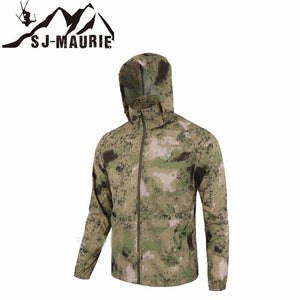 Waterproof Windbreaker Mens Hunting Jackets Outdoor Tactical Hiking Hunting Jack Quick-dry Skin Cloth Camouflage Anti-UV Coat