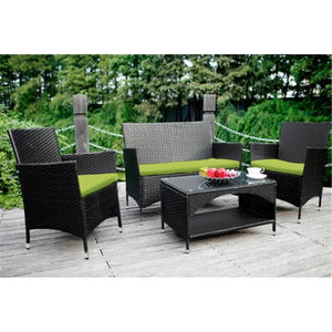 4 PCS Modern Patio Furniture Outdoor Garden Conversation Wicker Sofa Set, Green Cushions