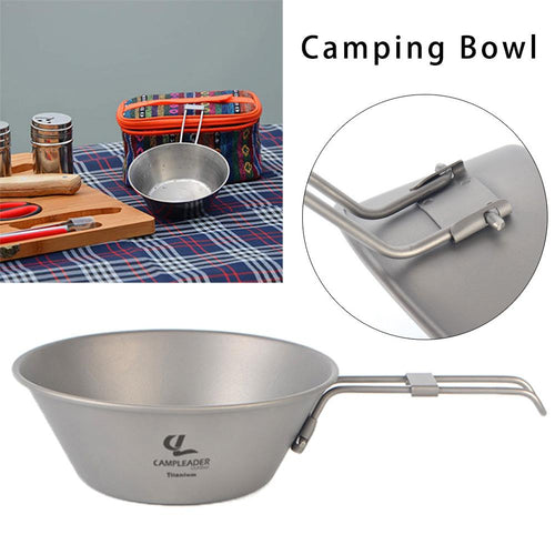 Titanium Bowl with Folding Handle for Hiking and Camping