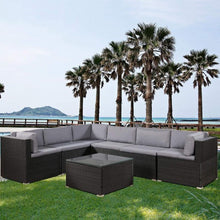 Load image into Gallery viewer, 7-Piece Rattan Outdoor Sectional Conversation Set With Soft Cushions