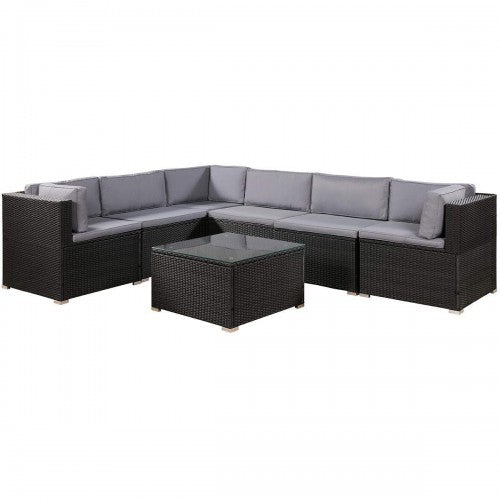 7-Piece Rattan Outdoor Sectional Conversation Set With Soft Cushions