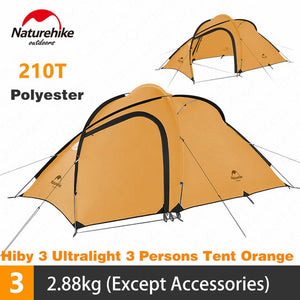 Naturehike Hiby3 Camping Tent Outdoor Ultralight 2-3 Persons Tent 210T Double Layer Waterproof Rainproof 4 Seasons Family Tent