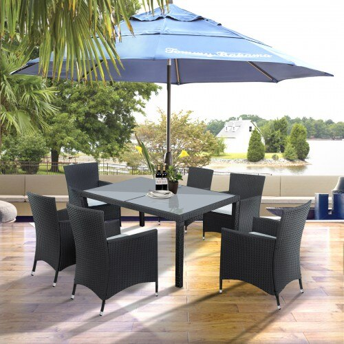 7-Piece Outdoor Wicker Dining Set with Beige Cushions