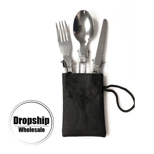 3 In 1 Camping and Outdoors Folding Silverware Set.