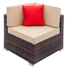 Load image into Gallery viewer, Patio Rattan Wicker Chair Sofa Fully Equipped Weaving Rattan Sofa Brown Gradient Backyard Outdoor Garden Sofa Set - US Stock