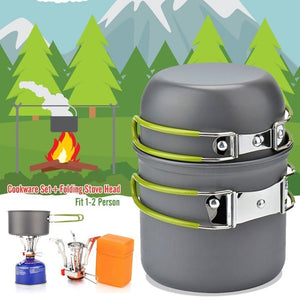 Ultralight Camping Cookware Stove Head Set Outdoor Tableware Set Hiking Picnic Camping Folding Tableware Pot Pan With Free Gifts
