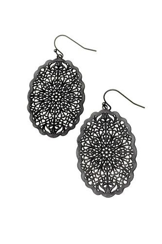 Black Brass Web Earrings