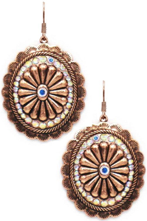 Copper Rhinestone Earrings