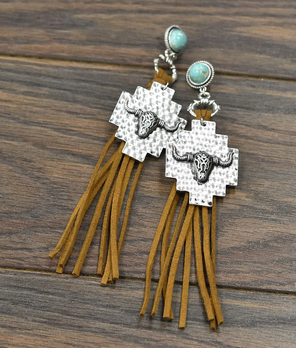 Cow Suede Concho Earrings