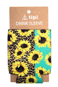 Leopard Sunflower Koozie