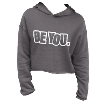 Load image into Gallery viewer, Be You. White Crop Hoodie