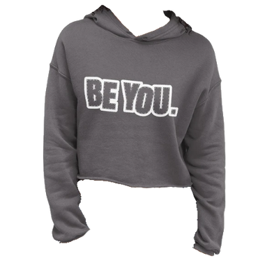 Be You. White Crop Hoodie