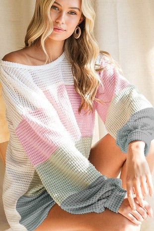 Waffle Knit Sage & Rose Color Block Top